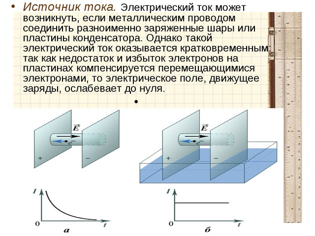 Источник тока. Электрический ток может возникнуть, если металлическим проводо...