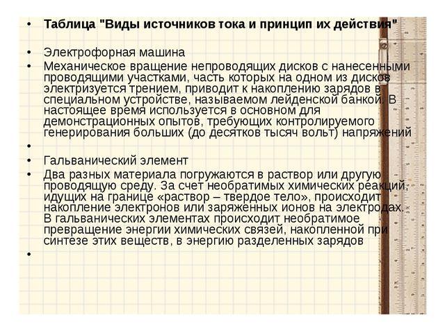 """Таблица """"Виды источников тока и принцип их действия"""" Электрофорная машина Мех..."""