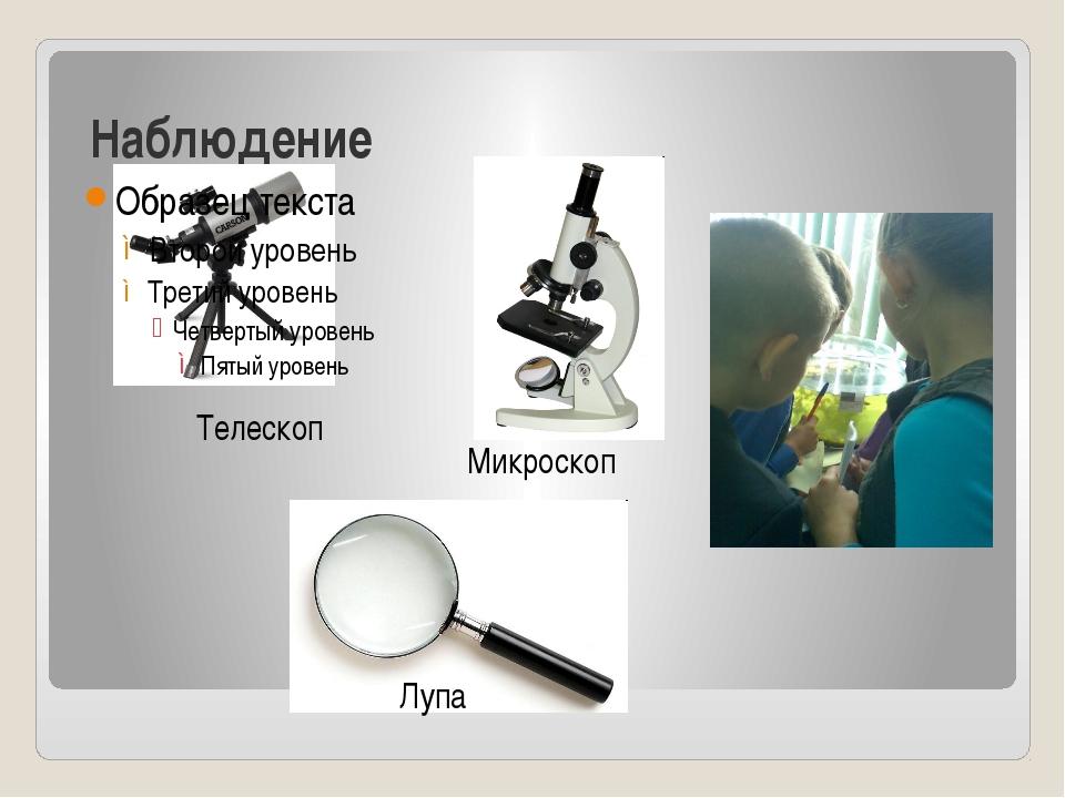 Наблюдение Телескоп Микроскоп Лупа