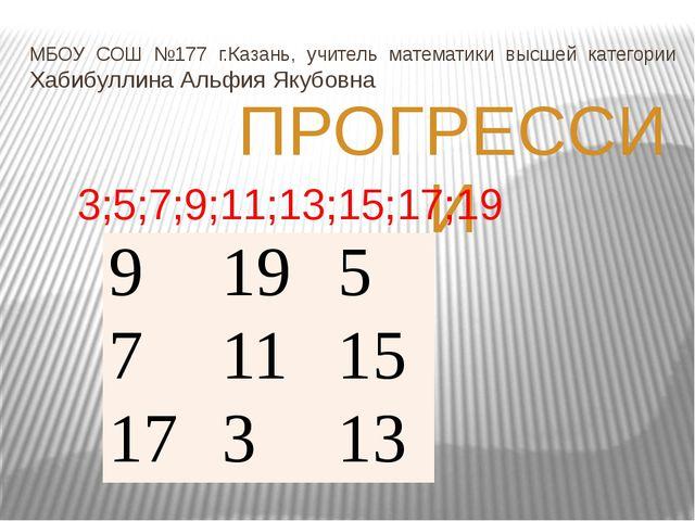 МБОУ СОШ №177 г.Казань, учитель математики высшей категории Хабибуллина Альфи...