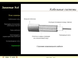 Кабельные системы Занятие №4 Строение коаксиального кабеля Внешняя оболочка И