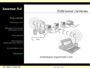 Кабельные системы Беспроводное подключение к сети назад далее Кабельные сети
