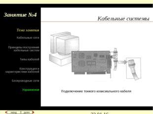 Кабельные системы Подключение тонкого коаксиального кабеля назад далее Кабель