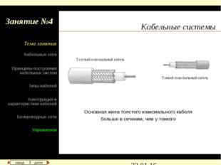 Кабельные системы Основная жила толстого коаксиального кабеля больше в сечени