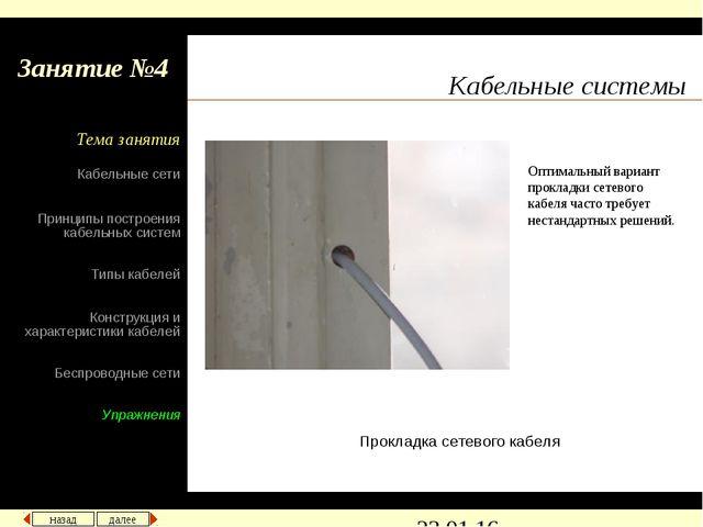 Кабельные системы Прокладка сетевого кабеля Оптимальный вариант прокладки сет...