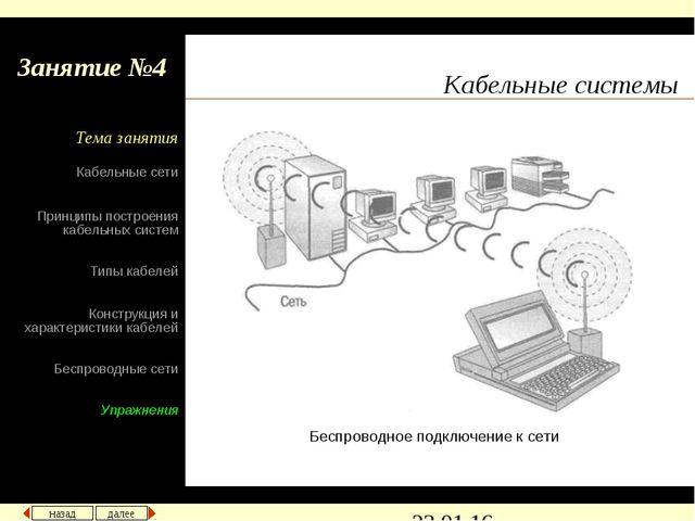 Кабельные системы Беспроводное подключение к сети назад далее Кабельные сети...