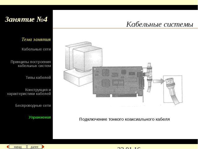 Кабельные системы Подключение тонкого коаксиального кабеля назад далее Кабель...
