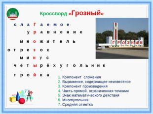 1. Компонент сложения 2. Выражение, содержащее неизвестное 3. Компонент произ