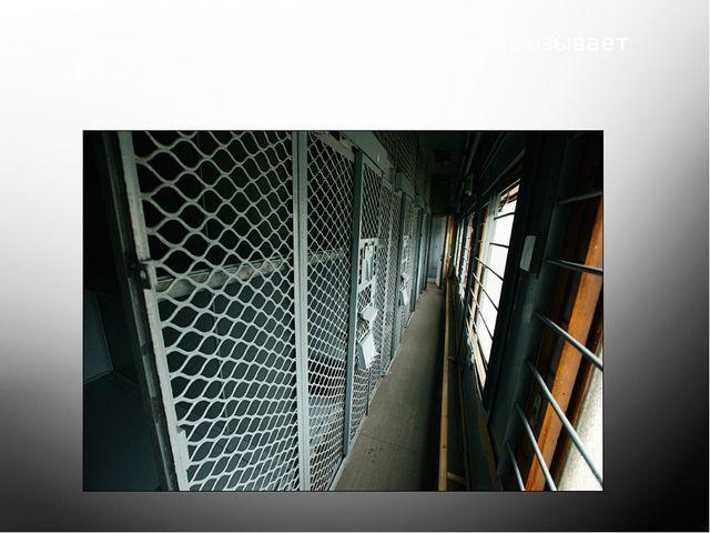 Холл вагона для заключённых уже вызывает самые неприятные ощущения