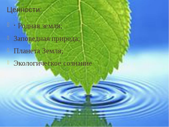 Ценности: ·Родная земля; Заповедная природа; Планета Земля; Экологическое со...