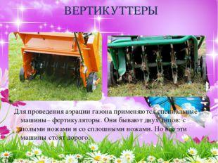 ВЕРТИКУТТЕРЫ Для проведенияаэрации газонаприменяются специальные машины– фе