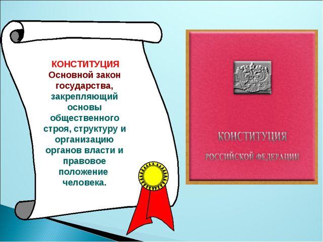 КОНСТИТУЦИЯ Основной закон государства, закрепляющий основы общественного ст...