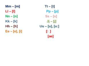 Mm – [m] Tt – [t] Ll – [l] Pp – [p] Nn – [n] Ss – [s] Kk – [k] Jj – [j] Hh –