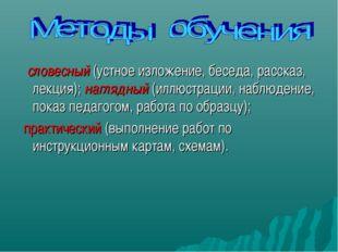 словесный (устное изложение, беседа, рассказ, лекция); наглядный (иллюстраци