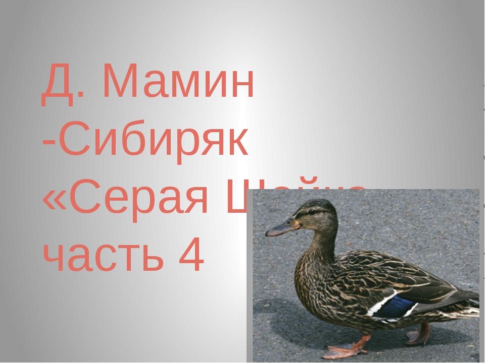 Д. Мамин -Сибиряк «Серая Шейка», часть 4