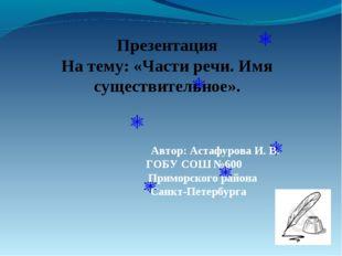 Презентация На тему: «Части речи. Имя существительное». Автор: Астафурова И.