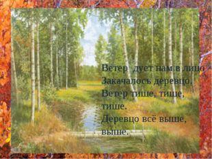 Ветер дует нам в лицо Закачалось деревцо. Ветер тише, тише, тише. Деревцо вс