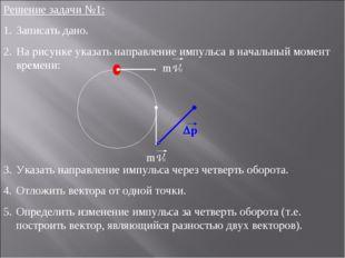 Решение задачи №1: Записать дано. На рисунке указать направление импульса в н