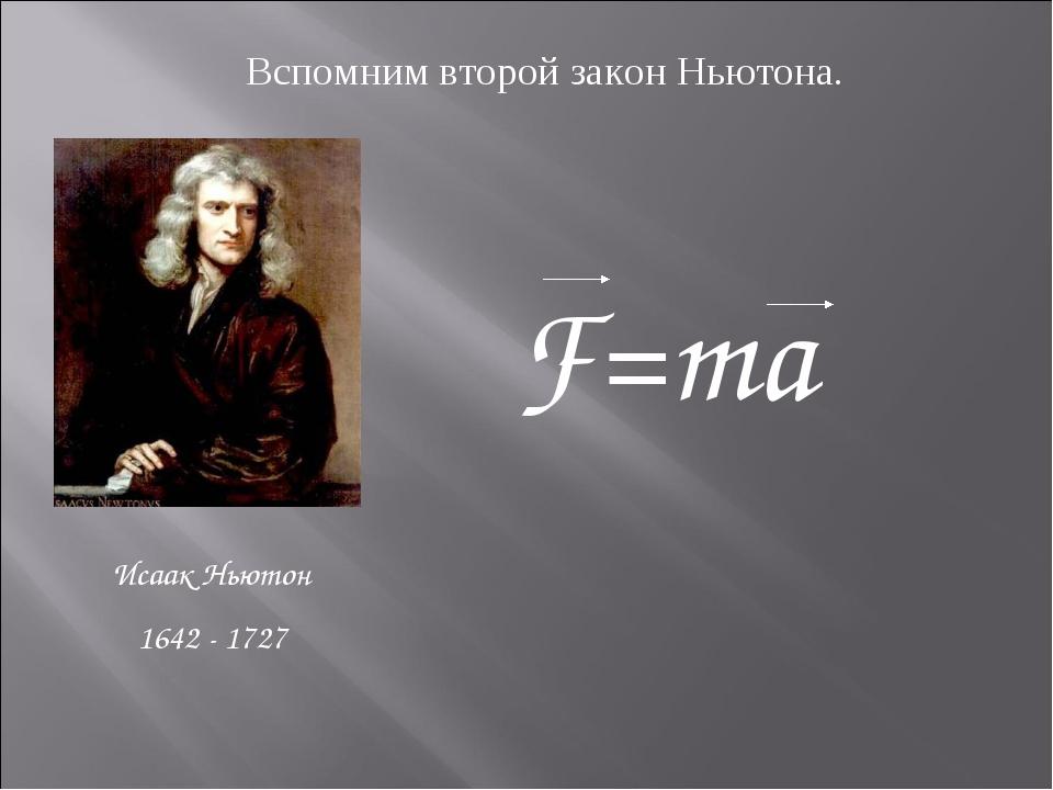 Исаак Ньютон 1642 - 1727 Вспомним второй закон Ньютона. F=ma