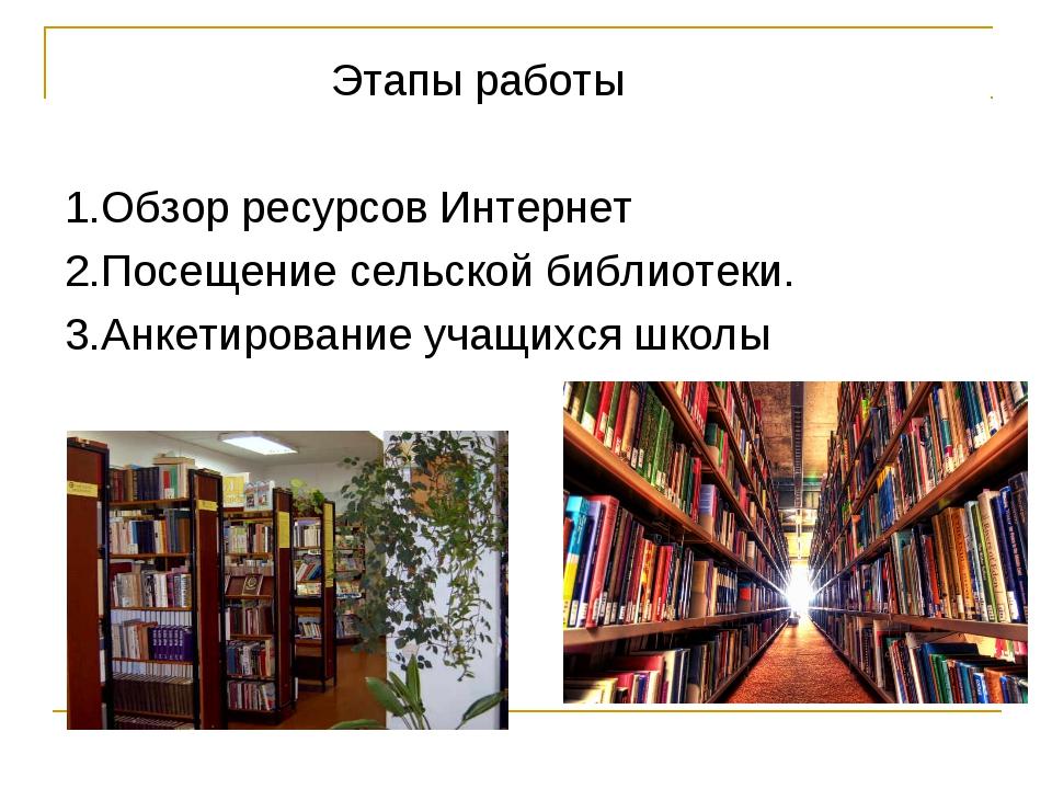 Этапы работы 1.Обзор ресурсов Интернет 2.Посещение сельской библиотеки. 3.Ан...