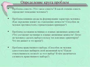 Определение круга проблем Проблема совести. (Что такое совесть? В какой степе