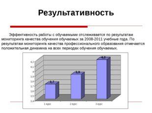 Результативность Эффективность работы с обучаемыми отслеживается по результа