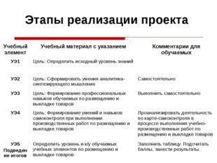 Этапы реализации проекта Учебный элемент Учебный материал с указанием Коммент