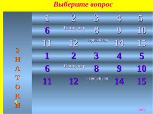 Выберите вопрос З Н А Т О К И12345 6Блиц-игра8910 1112черный ящик