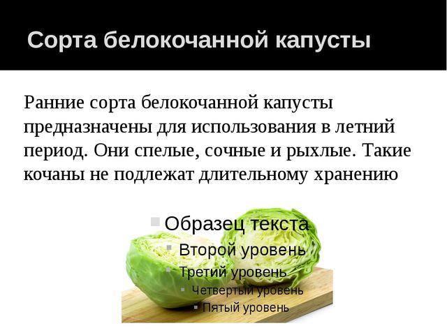 Сорта белокочанной капусты Ранние сорта белокочанной капусты предназначены дл...