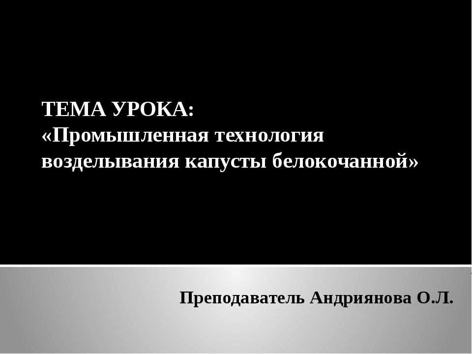 Преподаватель Андриянова О.Л. ТЕМА УРОКА: «Промышленная технология возделыван...