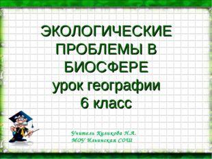 ЭКОЛОГИЧЕСКИЕ ПРОБЛЕМЫ В БИОСФЕРЕ урок географии 6 класс Учитель Куликова Н.А