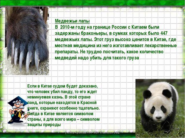 Медвежьи лапы В 2010-м году на границе России с Китаем были задержаны бракон...