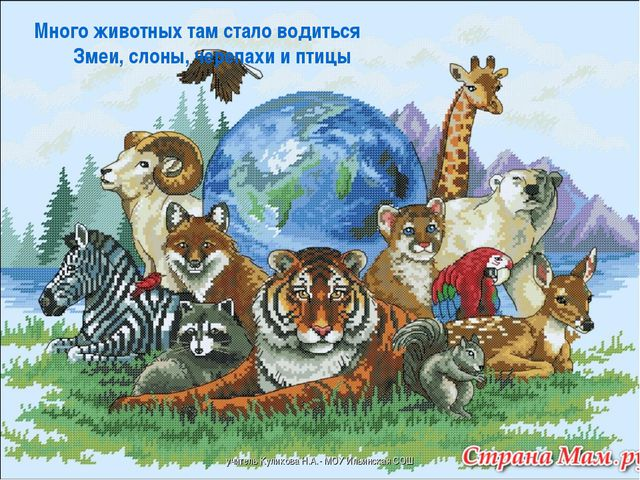 Много животных там стало водиться Змеи, слоны, черепахи и птицы учите...