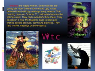 Witches Witches are magic women. Some witches are young but most of them are