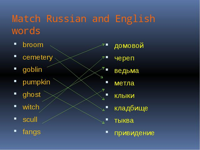 Match Russian and English words broom cemetery goblin pumpkin ghost witch scu...