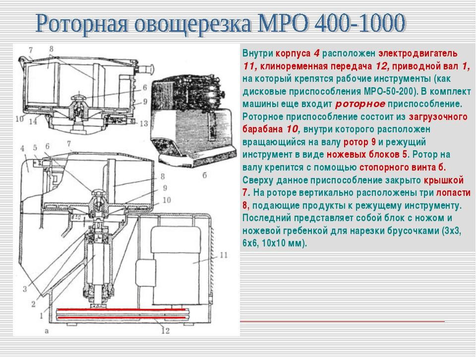 Внутри корпуса 4 расположен электродвигатель 11, клиноременная передача 12, п...