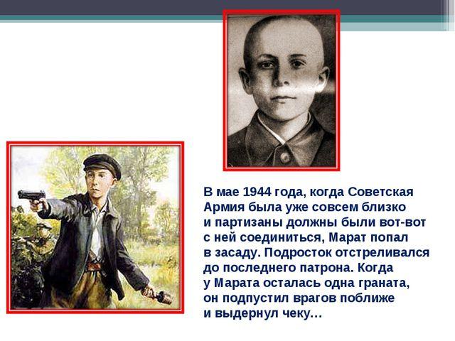 Вмае 1944 года, когда Советская Армия была уже совсем близко ипартизаны дол...