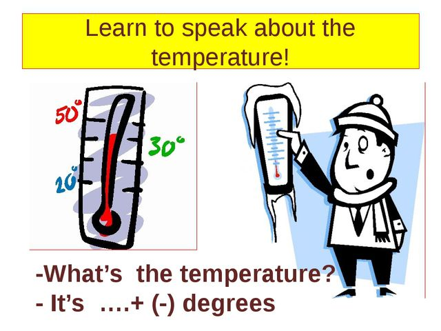 Learn to speak about the temperature! -What's the temperature? - It's ….+ (-...