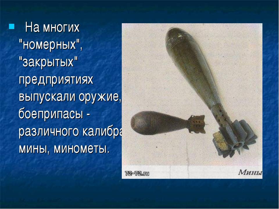 """На многих """"номерных"""", """"закрытых"""" предприятиях выпускали оружие, боеприпасы..."""