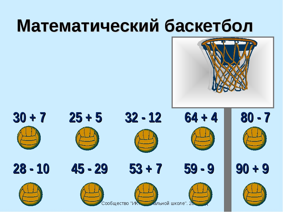 """Сообщество """"ИКТ в начальной школе"""". 2007 год Математический баскетбол 30 + 7..."""