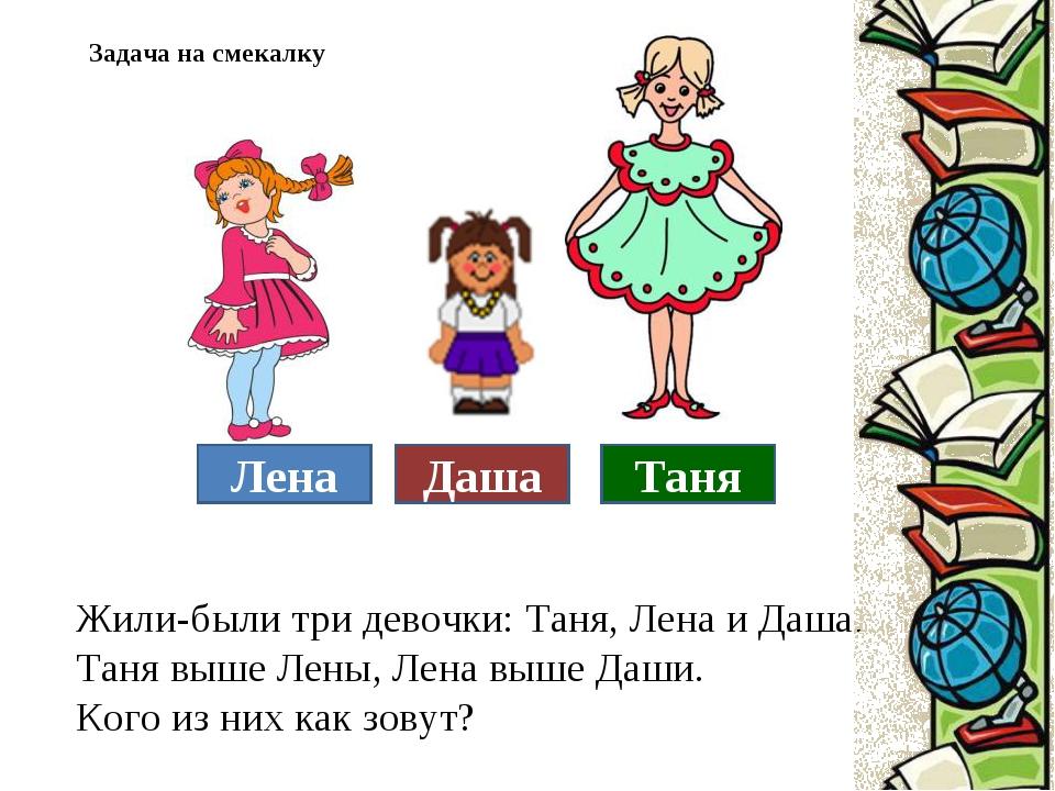 Жили-были три девочки: Таня, Лена и Даша. Таня выше Лены, Лена выше Даши. Ког...
