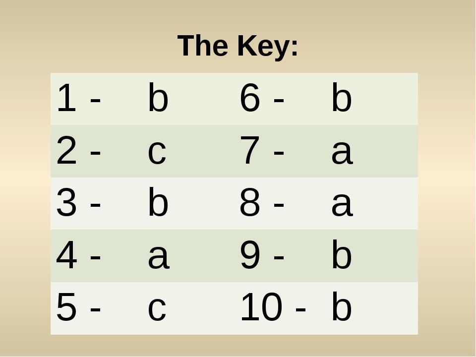 The Key: 1 - b 6 - b 2 - c 7 - a 3 - b 8 - a 4 - a 9 - b 5 - c 10 - b