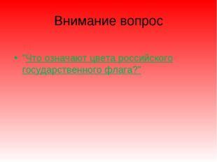 """Внимание вопрос """"Что означают цвета российского государственного флага?"""""""