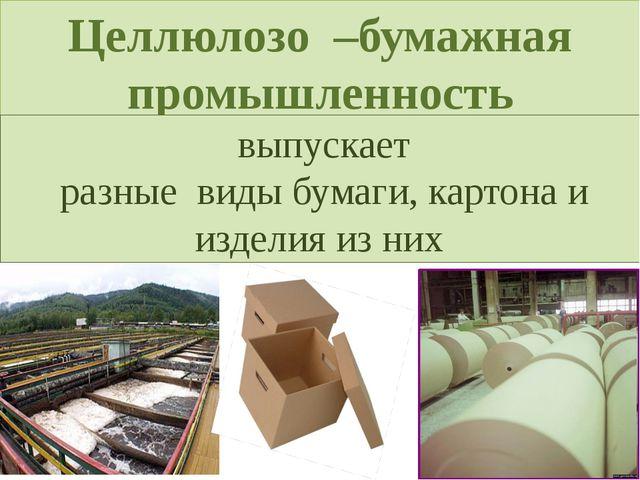 Целлюлозо –бумажная промышленность выпускает разные виды бумаги, картона и из...