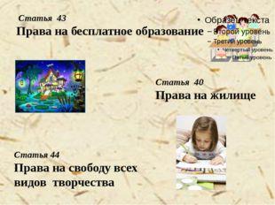 Статья 43 Права на бесплатное образование Статья 40 Права на жилище Статья 4