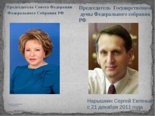 Матвиенко Валентина Ивановна с 21 сентября 2011 года Председатель Совета Феде