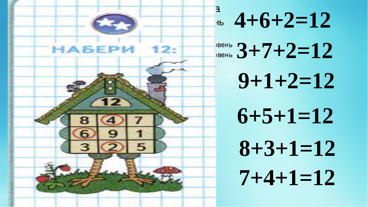 4+6+2=12 3+7+2=12 9+1+2=12 6+5+1=12 8+3+1=12 7+4+1=12