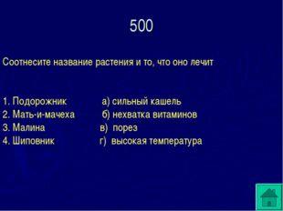 500 Соотнесите название растения и то, что оно лечит 1. Подорожник а) сильный