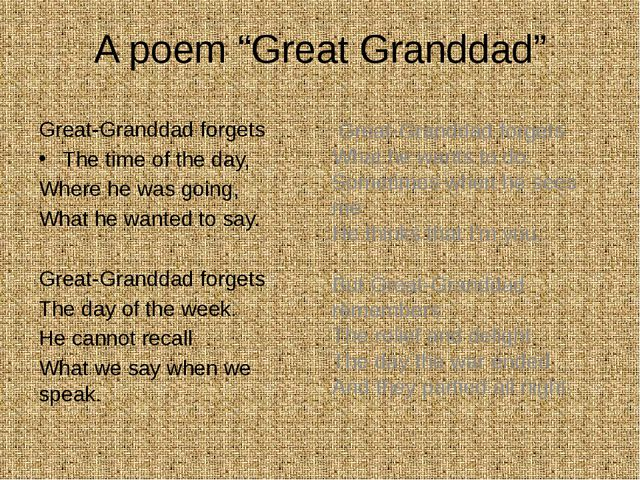 "A poem ""Great Granddad"" Great-Granddad forgets The time of the day, Where he..."