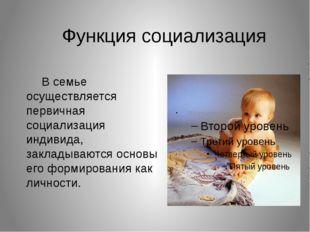 Функция социализация В семье осуществляется первичная социализация индивида